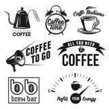 Släkt kaffe märker, emblem och designbeståndsdelar royaltyfri illustrationer