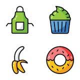 Släkt plan symbolsuppsättning för mat stock illustrationer
