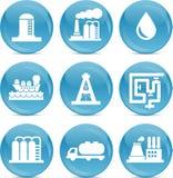 Släkta symboler för fossila bränslen stock illustrationer