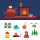 Släkta symboler och illustrationer för vinter Arkivbild