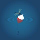 Slända som svävar i vattnet med en krok Bakgrund för fiskevektorillustration Royaltyfri Fotografi