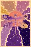 sländan på en bakgrund av solen rays i lilor och apelsinfärger vektor illustrationer