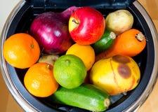 Slänga i soptunnan mycket av mat Fotografering för Bildbyråer