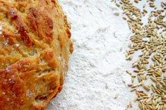 Släntra av nytt bakat vete- och rågbröd med korn och vitt mjöl på trätabellbakgrund arkivfoto