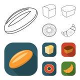 Släntra snittet, bageln, rektangulärt mörker, halva en släntra Panera fastställda samlingssymboler i översikten, materiel för sym vektor illustrationer