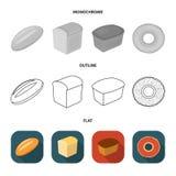 Släntra snittet, bageln, rektangulärt mörker, halva en släntra Panera fastställda samlingssymboler i lägenheten, översikten, mono vektor illustrationer