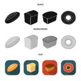 Släntra snittet, bageln, rektangulärt mörker, halva en släntra Panera fastställda samlingssymboler i svart, lägenheten, monokrom  stock illustrationer