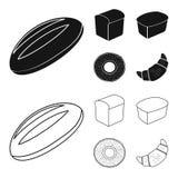 Släntra snittet, bageln, rektangulärt mörker, halva en släntra Panera fastställda samlingssymboler i svart, materiel för symbol f stock illustrationer