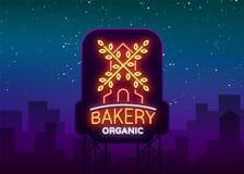 Släntrar den organiska logoen för bagerit, nytt bröd, Vektorillustration på bageri, bakning, konfekt Naturlig bakning för teckens Royaltyfria Bilder