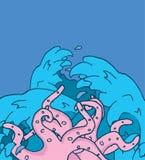 Släpp krakenen eller tentakelattacken, i att revoltera vatten Royaltyfri Fotografi