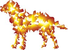 Slät hund i brandfärger attack som ?r klar till vektor illustrationer