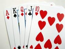slät poker straight arkivbild