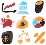 släta finanssymboler royaltyfri illustrationer