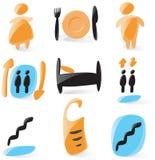 släta hotellsymboler vektor illustrationer