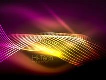 Slätar flödande band för elegant neon, vågor med ljusa effekter stock illustrationer