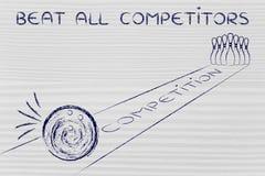 Slå alla konkurrenter som en bowlingklot omkring för att slå Fotografering för Bildbyråer