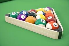 Slå samman billiardbollar i en träkugge, den gemensamt använda startande positionen, illustrationen 3D på grön bakgrund stock illustrationer