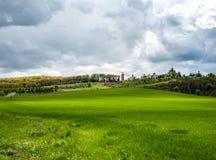Slående landskap med grönt gräs för vår, kullar och träd, molnig himmel arkivbilder