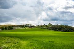 Slående landskap med grönt gräs, kullar och träd, molnig himmel arkivfoton