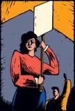 Slående protesterare som rymmer posteringtecknet Arkivbilder