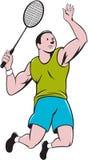 Slående tecknad film för badmintonspelareracket Arkivfoto