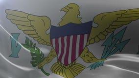 slående wind för flagga s u S Jungfruöarna som vinkar i vinden, nationellt symbol av frihet stock illustrationer