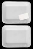 Slågen in tom plast- vitmatbehållare med etiketten   Royaltyfria Foton