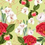 Slår ut den sömlösa modellen för blomman med pioner för utdragen lös flora för handen röda och vita liljor vektor illustrationer