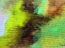 Slår våren för gul gräsplan för abstrakt begrepp för vattenfärgkonstbakgrund texturerad suddig fantasi för våt wash Arkivfoton
