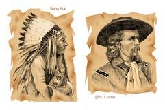 slåss den stora historiska hornen little royaltyfri illustrationer