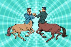 Slåss för affärsmän för kentaur för popkonst två stock illustrationer