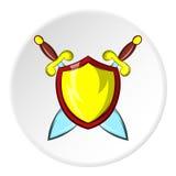Slåss skölden med svärd symbolen, tecknad filmstil royaltyfri illustrationer