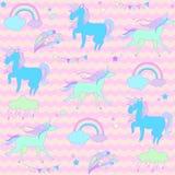 Slösa och göra grön enhörningar med stjärnor på rosa vågor för en bakgrund Royaltyfria Foton
