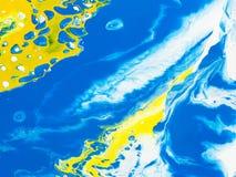 Slösa och gulna den idérika abstrakta handen målad bakgrund, marbl vektor illustrationer