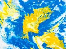 Slösa och gulna den idérika abstrakta handen målad bakgrund, marbl stock illustrationer