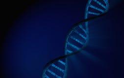 Slösar den dubbla spiralen för DNA:t, detaljerat med blå bakgrund Arkivbild