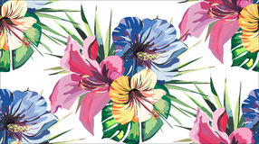 Slösar den färgrika sömlösa modellen för härlig ljus älskvärd underbar tropisk hawaii blom- växt- sommar av tropiska gula rosa fä Royaltyfria Bilder