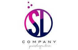 SL S L letra Logo Design del círculo con Dots Bubbles púrpura libre illustration