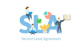 SLA, συμφωνία επιπέδων εξυπηρέτησης Έννοια με τις λέξεις κλειδιά, τις επιστολές και τα εικονίδια Επίπεδη διανυσματική απεικόνιση  διανυσματική απεικόνιση