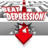 Sla de Ziekte van Maze Arrow Overcome Mental Illness van Depressiewoorden Stock Foto