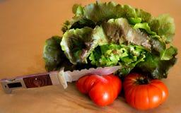 Sla met tomaten Stock Foto's
