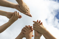 Sla uw handen!! royalty-vrije stock afbeeldingen