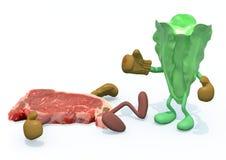 Sla versus vlees vector illustratie
