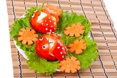 Sla, wortel en tomaat. Royalty-vrije Stock Foto's