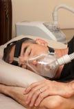 Slaap Apnea en CPAP Stock Foto's