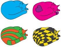 Slaap Cat Cartoon Abstract Vector Stock Afbeeldingen