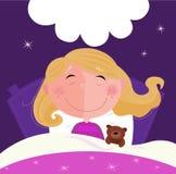 Slaap en dromend meisje in roze pyjama Stock Fotografie