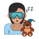 Slaap en rust beeldverhalen royalty-vrije illustratie