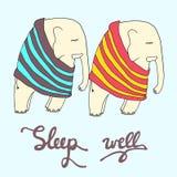 Slaap goed illustratie Twee leuke slaapolifanten in gestript Royalty-vrije Stock Foto's
