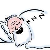 Slaap oude mens met witte baard stock illustratie